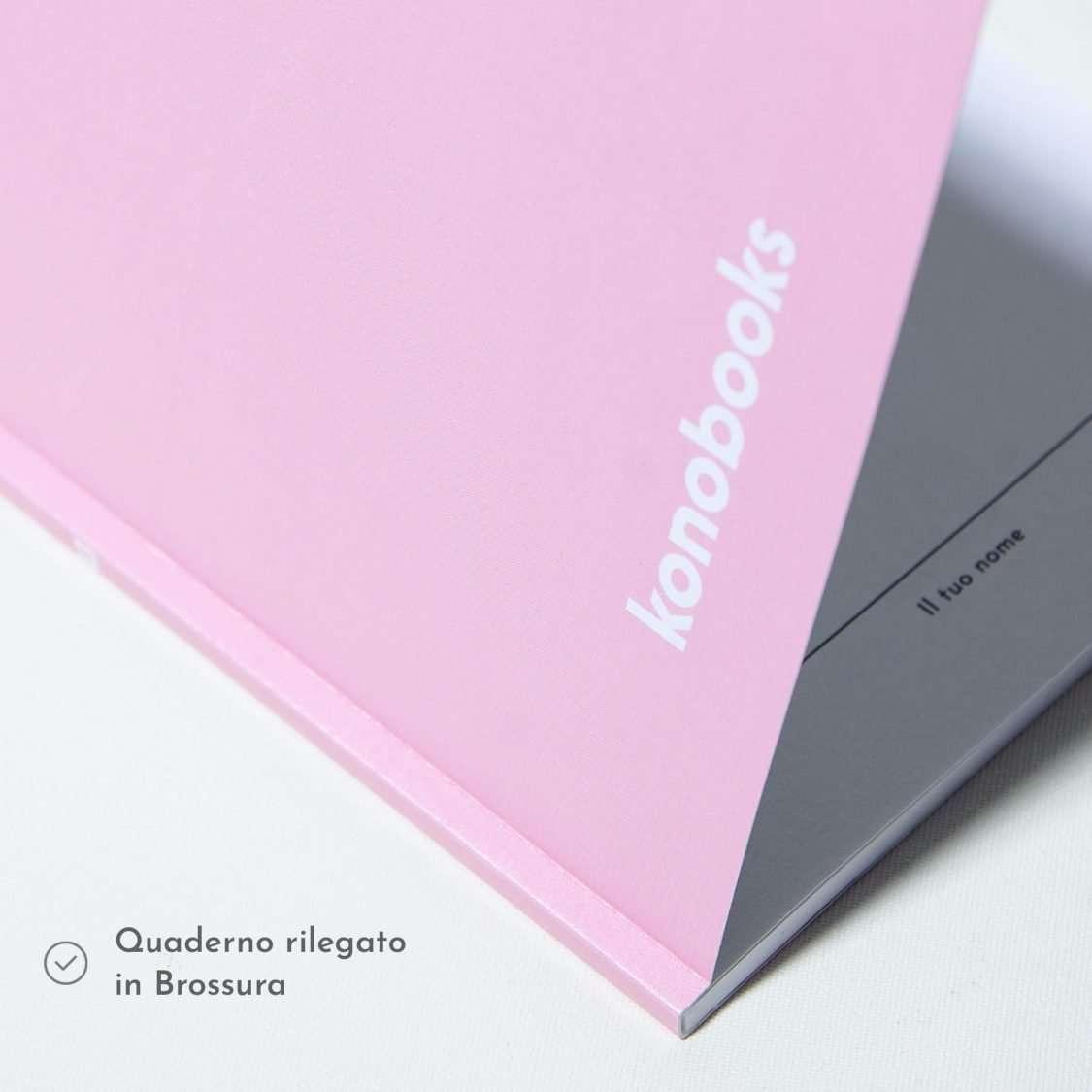 Quaderno rosa rilegato in brossura - in carta riciclata - Konobooks