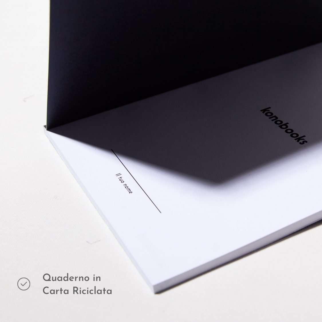 Quaderno nero in carta riciclata Konobooks