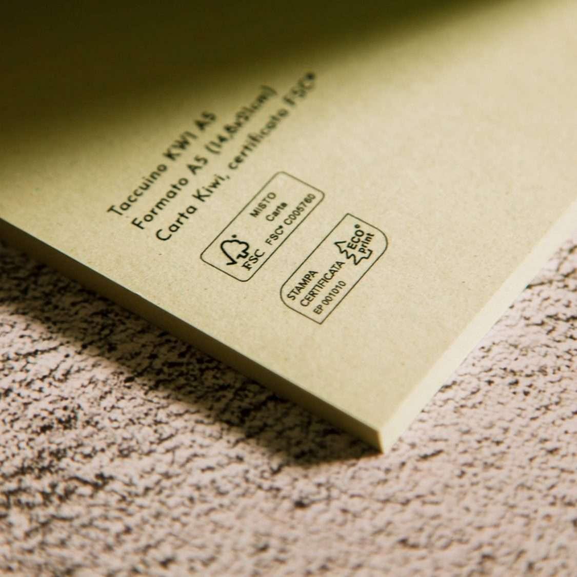 Quaderno in Carta ecologica FSC e Stampa a basso impatto ambientale certificata ECOPrint- Konobooks KW1