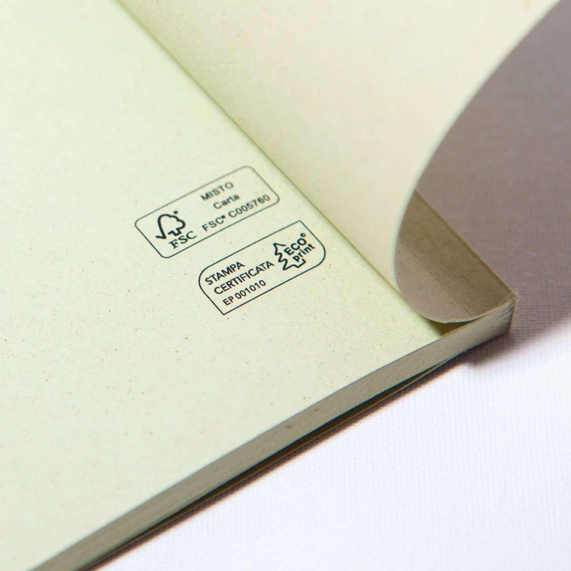 Quaderno ecologico certificato Fsc e EcoPrint